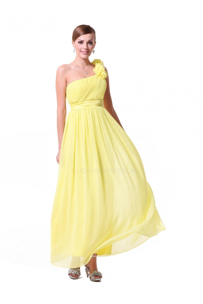 A-Line One-Shoulder Long Yellow Chiffon Bridesmaid Dresses/Evening Dresses BD010290