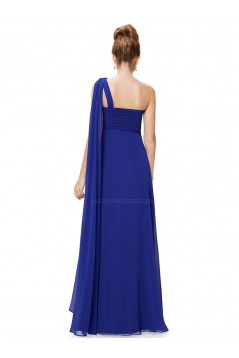 Empire One-Shoulder Long Royal Blue Chiffon Bridesmaid Dresses/Evening Dresses/Maternity Dresses BD010292