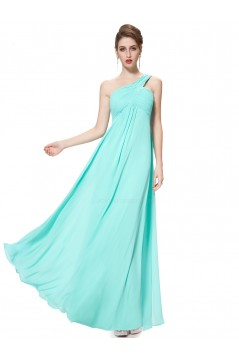Empire One-Shoulder Long Light Blue Chiffon Bridesmaid Dresses/Evening Dresses/Maternity Dresses BD010293