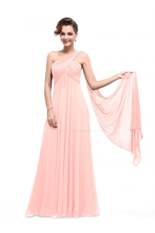 Empire One Shoulder Long Pink Chiffon Bridesmaid Dresses Evening Dresses Maternity Dresses Bd010294