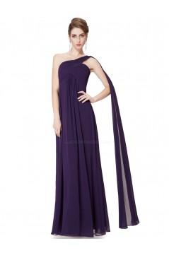 Empire One-Shoulder Long Purple Chiffon Bridesmaid Dresses/Evening Dresses/Maternity Dresses BD010295
