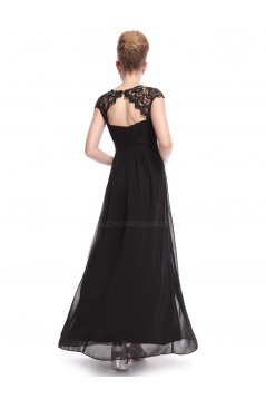 A-Line Cap-Sleeve Long Black Chiffon Bridesmaid Dresses/Evening Dresses BD010301