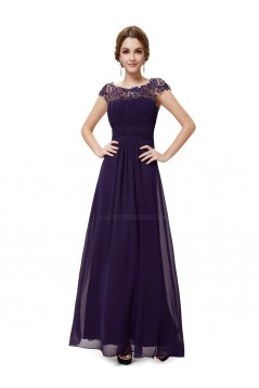 A-Line Cap-Sleeve Long Purple Chiffon Bridesmaid Dresses/Evening Dresses BD010302