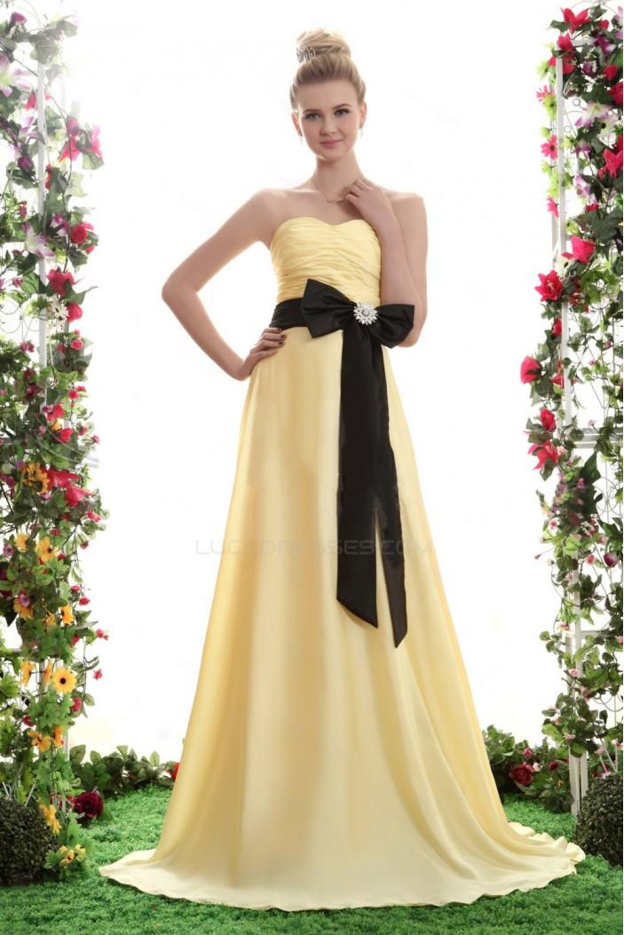 A-Line Long Yellow Chiffon Bridesmaid Dresses/Wedding Party Dresses BD010303