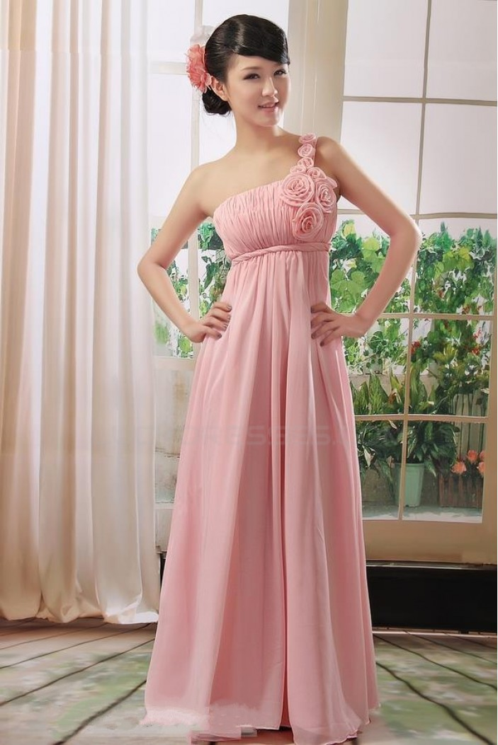 Empire One-Shoulder Long Pink Chiffon Bridesmaid Dresses/Evening Dresses/Maternity Dresses BD010306
