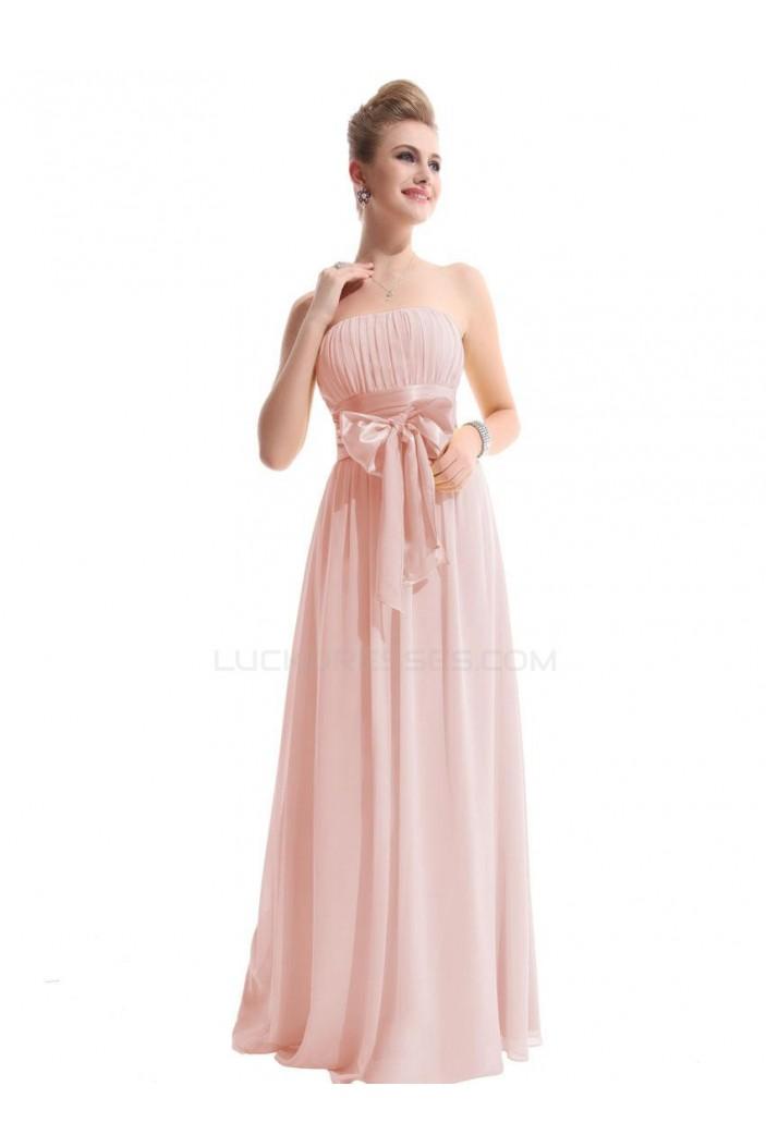 A-Line Strapless Chiffon Long Pink Bridesmaid Dresses/Wedding Party Dresses BD010308