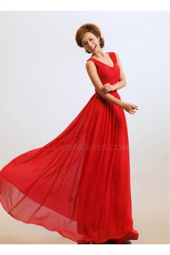A-Line Chiffon Long Red Bridesmaid Dresses/Wedding Party Dresses BD010309