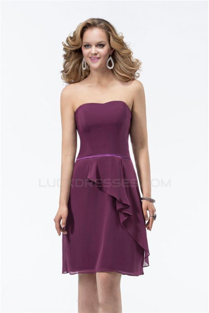 A-Line Strapless Short Chiffon Bridesmaid Dresses/Wedding Party Dresses BD010314