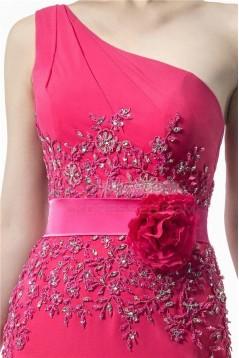 Sheath One-Shoulder Hot Pink Beaded Long Chiffon Bridesmaid Dresses/Evening Dresses BD010315