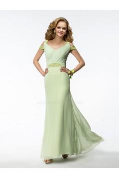 Sheath V-Neck Green Beaded Long Chiffon Bridesmaid Dresses/Evening Dresses BD010317