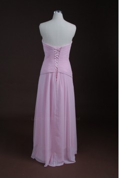 Sheath/Column Sweetheart Long Pink Chiffon Bridesmaid Dresses/Wedding Party Dresses BD010319