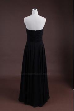 Sheath/Column Sweetheart Long Black Chiffon Bridesmaid Dresses/Wedding Party Dresses BD010320