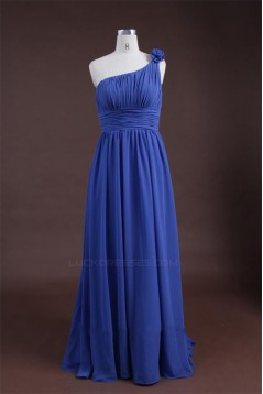 Sheath/Column One-Shoulder Long Blue Chiffon Bridesmaid Dresses/Wedding Party Dresses BD010321