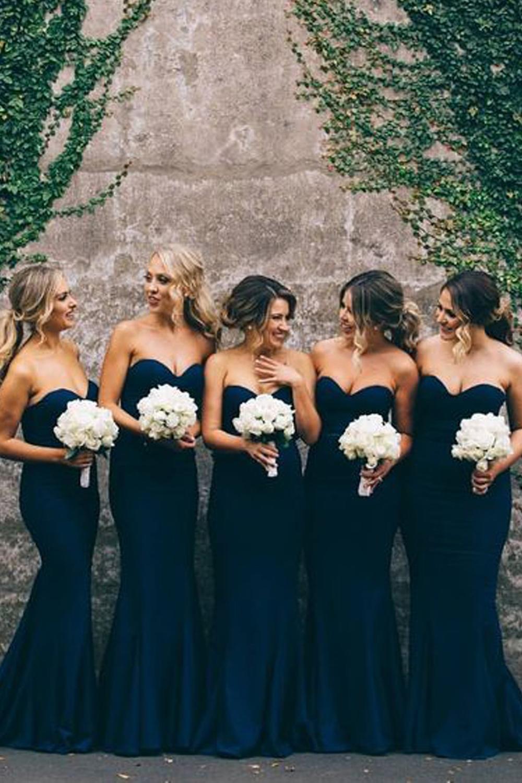 Mermaid Sweetheart Navy Blue Long Bridesmaid Dresses/Wedding Party Dresses  BD6