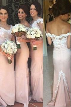 Mermaid Off-the-Shoulder Lace Long Bridesmaid Dresses/Wedding Party Dresses BD010324