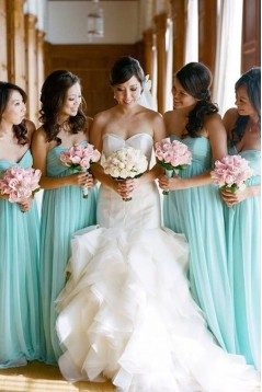 Empire Sweetheart Long Blue Bridesmaid Dresses/Wedding Party Dresses BD010325