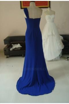 A-Line Removable One-Shoulder Long Blue Chiffon Bridesmaid Dresses/Wedding Party Dresses BD010326