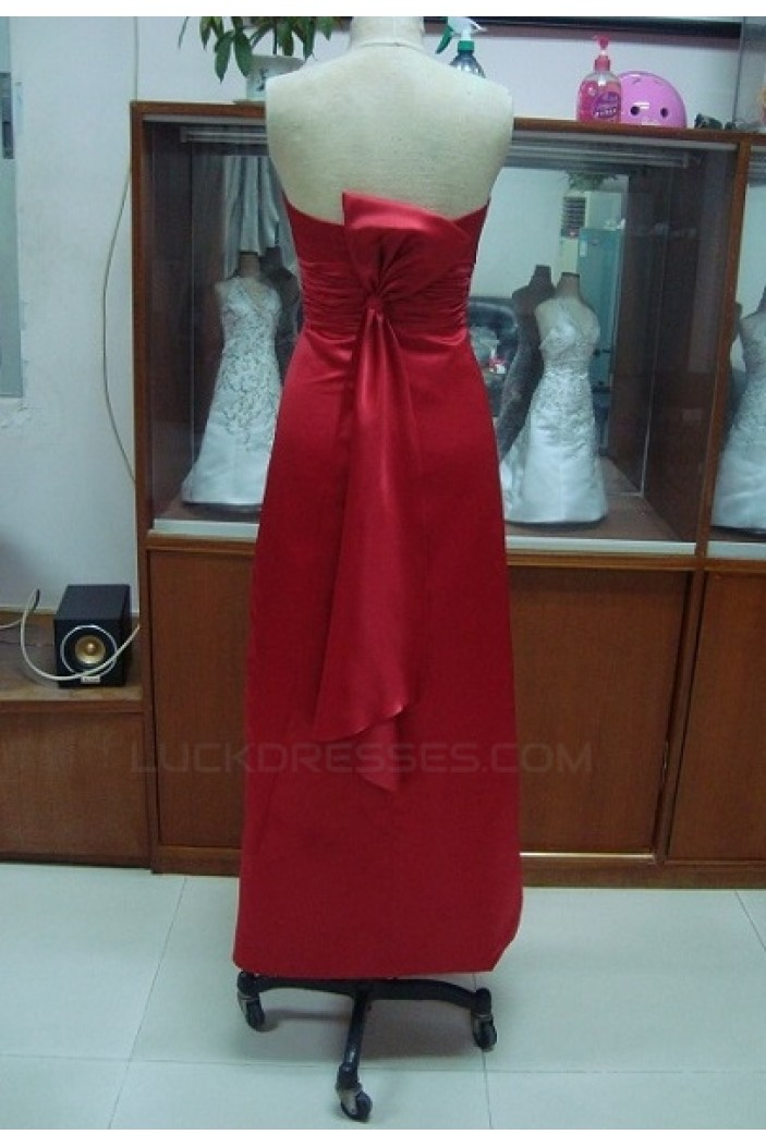 A-Line Strapless Long Red Bridesmaid Dresses/Wedding Party Dresses BD010327