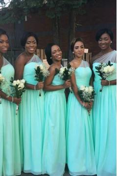 Sheath/Column One-Shoulder Long Blue Bridesmaid Dresses/Wedding Party Plus Size Dresses BD010328
