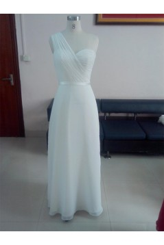 A-Line One-Shoulder Long White Chiffon Bridesmaid Dresses/Wedding Party Dresses BD010332