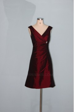 A-Line Short V-Neck Taffeta Bridesmaid Dresses/Wedding Party Dresses BD010334
