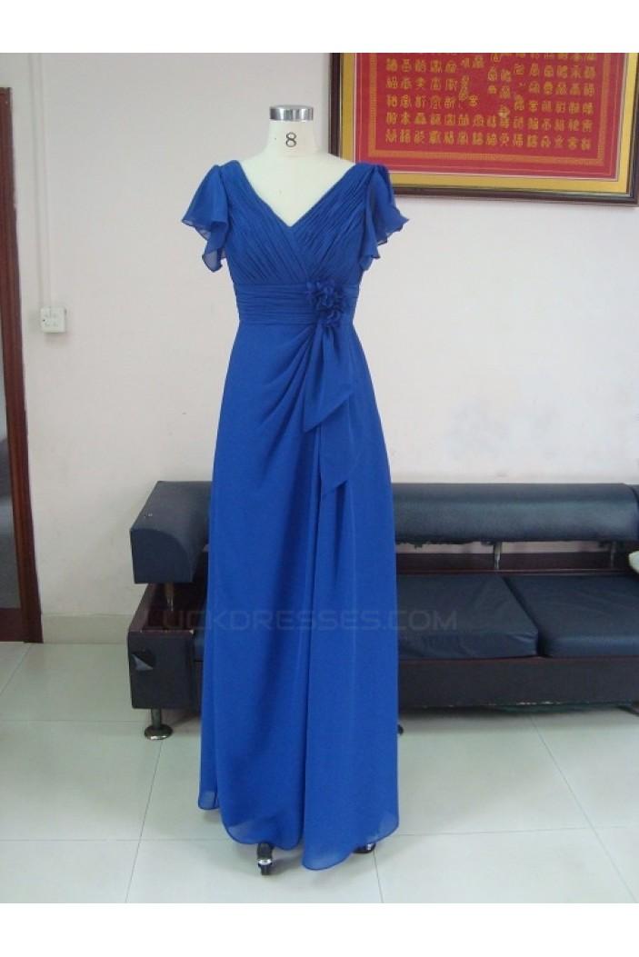 Sheath/Column V-Neck Long Royal Blue Chiffon Bridesmaid Dresses/Wedding Party Dresses BD010335