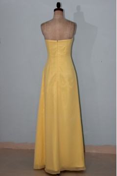 Sheath/Column Strapless Long Yellow Beaded Chiffon Bridesmaid Dresses/Wedding Party Dresses BD010336