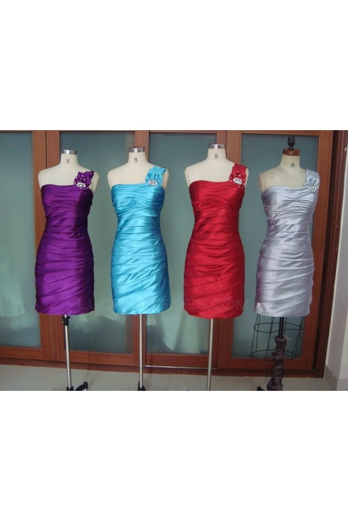 Short/Mini One-Shoulder Bridesmaid Dresses/Wedding Party Dresses BD010337