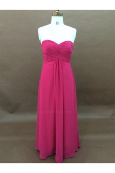 A-Line Sweetheart Hot Pink Long Chiffon Bridesmaid Dresses/Wedding Party Dresses BD010340