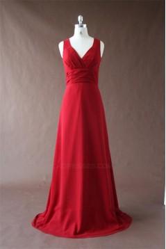 A-Line Long Red Chiffon Bridesmaid Dresses/Wedding Party Dresses BD010344