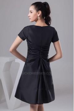 A-Line Short Sleeve Black Bridesmaid Dresses/Wedding Party Dresses BD010349