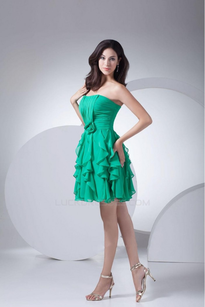 A-Line Strapless Short Green Bridesmaid Dresses/Wedding Party Dresses BD010351