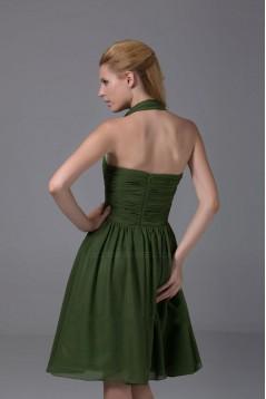 A-Line Halter Short Green Chiffon Bridesmaid Dresses/Wedding Party Dresses BD010356