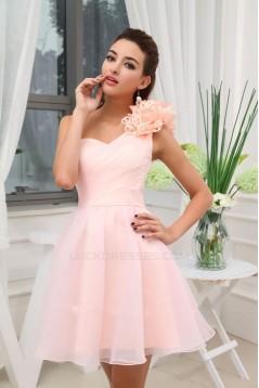 A-Line One-Shoulder Short/Mini Bridesmaid Dresses/Wedding Party Dresses BD010358