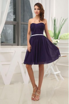 A-Line Strapless Short Purple Chiffon Bridesmaid Dresses/Wedding Party Dresses BD010361