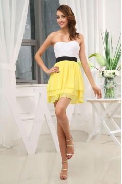 A-Line Strapless Short Chiffon Bridesmaid Dresses/Wedding Party Dresses BD010362