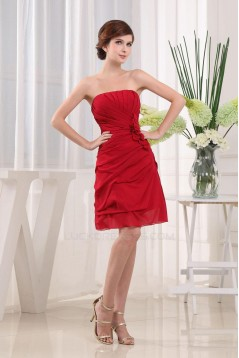 A-Line Strapless Short Red Bridesmaid Dresses/Wedding Party Dresses BD010363