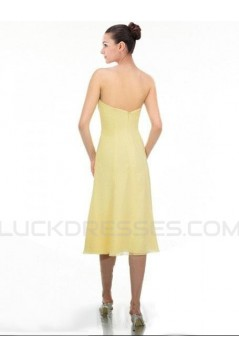 A-Line Strapless Short Yellow Chiffon Bridesmaid Dresses/Wedding Party Dresses BD010365