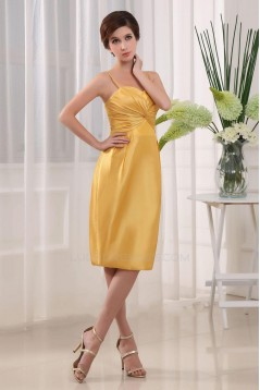 Spaghetti Strap Short Yellow Bridesmaid Dresses/Wedding Party Dresses BD010367