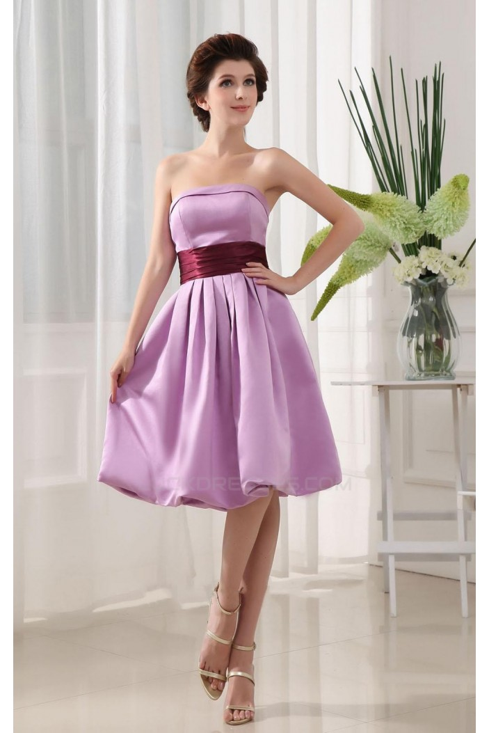 A-Line Strapless Short Purple Satin Bridesmaid Dresses/Wedding Party Dresses BD010369