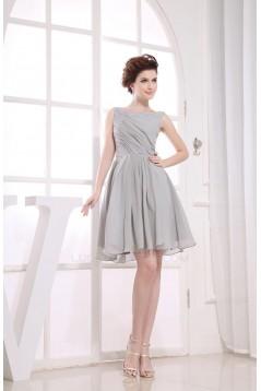 A-Line Bateau Short Grey Chiffon Bridesmaid Dresses/Wedding Party Dresses BD010370