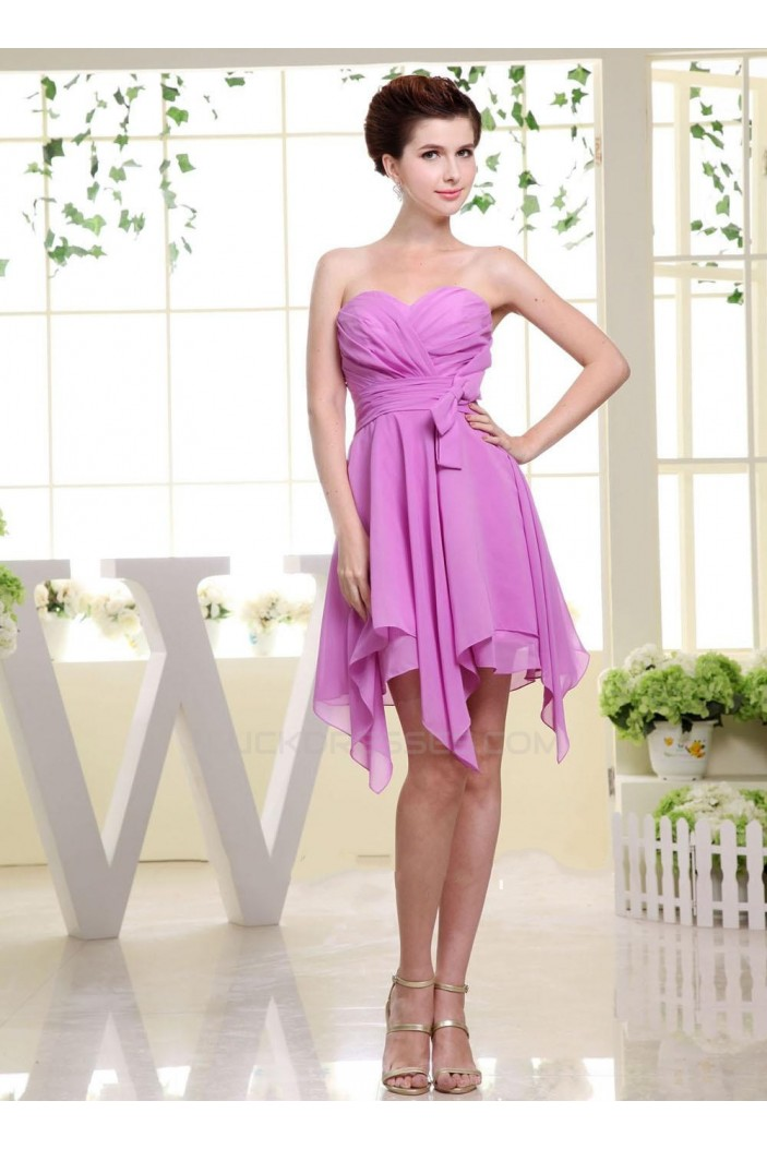 A-Line Sweetheart Short Purple Chiffon Bridesmaid Dresses/Wedding Party Dresses BD010373