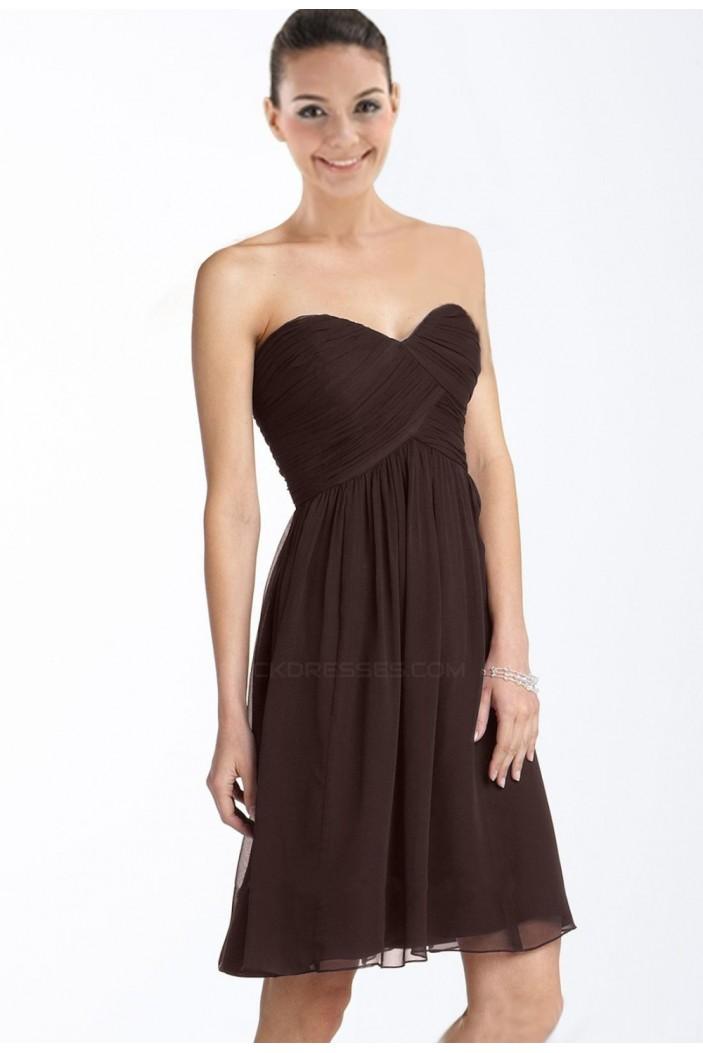 A-Line Sweetheart Short Coffee Chiffon Bridesmaid Dresses/Wedding Party Dresses BD010374