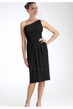 One-Shoulder Short Black Chiffon Bridesmaid Dresses/Wedding Party Dresses BD010375