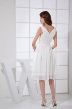 A-Line V-Neck Short White Chiffon Bridesmaid Dresses/Wedding Party Dresses BD010376