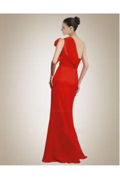 One-Shoulder Long Red Chiffon Bridesmaid Dresses/Wedding Party Dresses BD010382