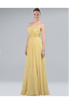 A-Line Halter Long Yellow Chiffon Bridesmaid Dresses/Wedding Party Dresses BD010383