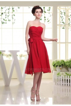 A-Line Sweetheart Short Red Chiffon Bridesmaid Dresses/Wedding Party Dresses BD010385