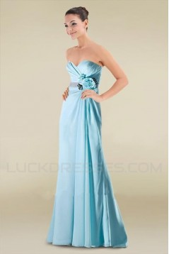 A-Line Sweetheart Long Blue Chiffon Bridesmaid Dresses/Wedding Party Dresses BD010390