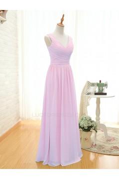 A-Line Long Pink Chiffon Bridesmaid Dresses/Wedding Party Dresses BD010393